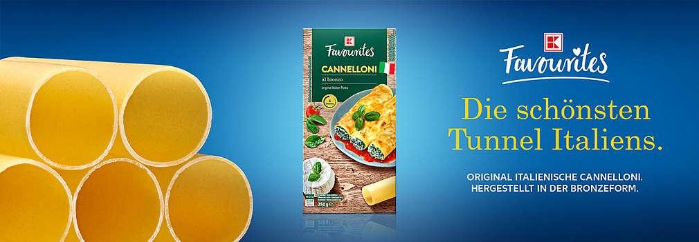 Produktabbildung: K-Favourites Cannelloni; Logo: K-Favourites; Schriftzug: Die schönsten Tunnel Italiens. Original italienische Cannelloni. Hergestellt in der Bronzeform.